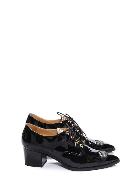 Paris-Dallas black patent leather and gold star lace up boots Retail price €1500 Size 40.5