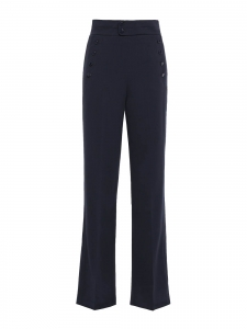 Pantalon Andrae à pont taille haute évasé en crêpe bleu marine Prix boutique 460€ Taille 36
