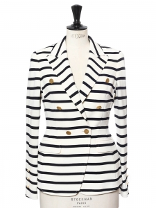 White and navy blue striped blazer jacket with gold buttons Retail price €900 Size 36