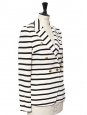 Veste blazer rayé blanc et bleu marine double boutonnière doré Prix boutique 900€ Taille 36