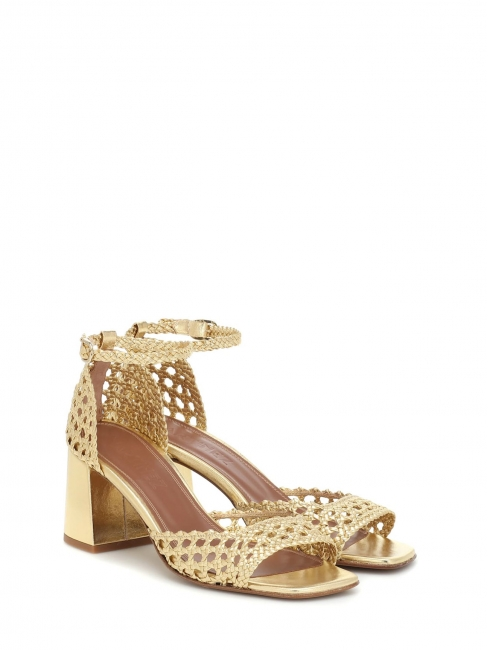 PROCIDA Gold woven leather heels sandals with ankle strap Retail price €405 Size 41