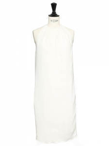 Cream white crepe sleeveless cocktail dress Retail price €2000 Size XS/S