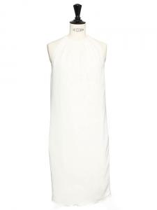 Robe de cocktail en crêpe blanc ivoire épaules dénudées Px boutique 2000€ Taille 34/36