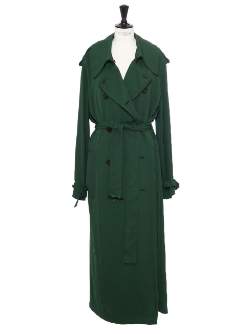 Lucie dark green satin-twill maxi trench coat NEW retail price €750 Size 36 to 40