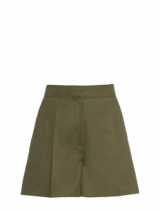 Khaki green cotton gabardine high waist shorts Retail price €490 Size XS
