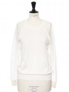 Ivory white wool round neck sweater with lace sleeves and back Retail price €690 Size XS