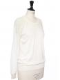 Pull col rond en laine et dentelle blanc ivoire manches et dos dentelle Prix boutique 690€ Taille XS