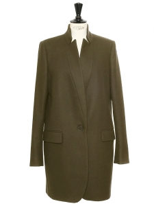 BRYCE khaki green melton wool blend coat Retail price €1095 Size 36