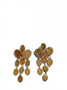 Boucles d'oreille pendantes à médaillons en laiton finition dorée Prix boutique 590€