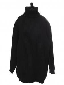Pull ISA oversized col roulé en laine côtelé noir Prix boutique $450