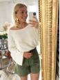 Khaki green cotton gabardine high waist shorts Retail price €490 Size XS
