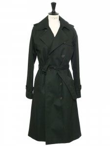 Dark green twill cotton double-breasted mid-length trench coat Retail price €490 Size 36
