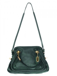 Empire green grained leather PARATY medium cross body bag Retail price €1450