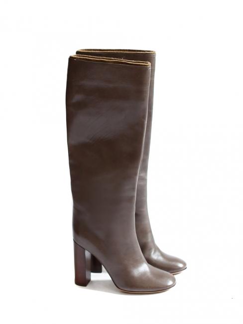 Dark brown leather wooden heel boots NEW Retail price €1000 Size 40
