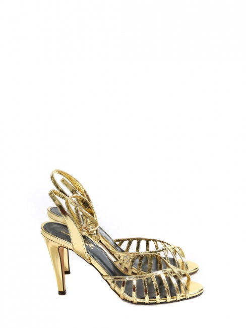 BELINDA Gold cutout leather ankle strap open toe sandals Retail price €420 Size 38
