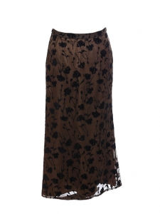 Brown silk and viscose maxi skirt printed with black flowers Retail price 800€ Size 36/38