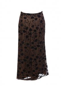 Jupe longue en soie et viscose marron imprimée fleuri noir Prix boutique 800€ Taille 36/38