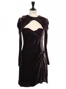 Robe manches longues décolleté coeur en velours prune marron Prix boutique 520€ Taille 36
