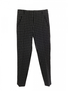 High waist straight leg black and white checked print pants Size 36