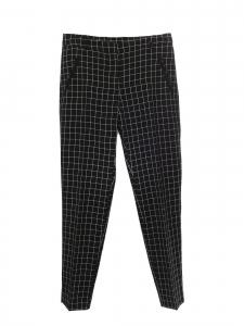 Pantalon taille haute ajusté à carreaux noir blanc Taille 36