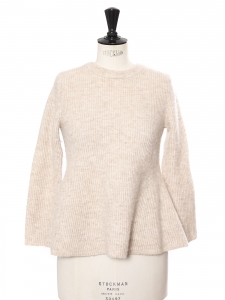Heather beige and light brown wool round neck sweater size S