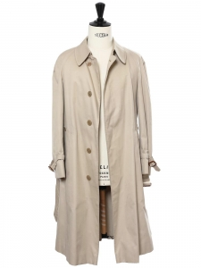Sand beige double breasted trench coat with plaid lining Retail price €820 Size 40