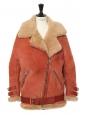 Manteau shearling VELOCITE en laine retournée beige camel et terracotta Prix boutique 2300€ Taille 34 à 38