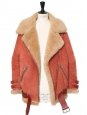 VELOCITE Sienna brown and camel beige shearling jacket Retail price €2400 Size 34 to 38