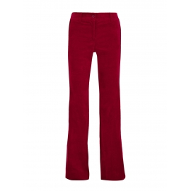 CLARET Satin-trimmed red cotton-blend velvet bootcut pants Retail price €145 Size 38