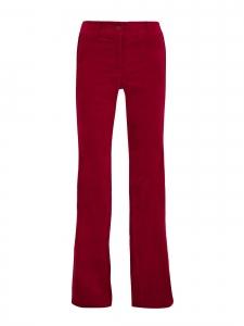 Pantalon CLARET taille haute évasé en velours rouge et bande satin Prix boutique 145€ Taille US 6