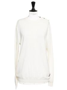 Ivory white fine wool knit crew neck sweater Size L