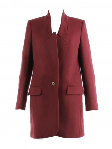 BRYCE burgundy red wool sergé coat Retail price €1095 Size 36