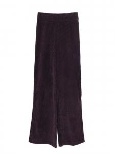 Pantalon taille haute évasée en velours côtelé violet prune Prix boutique 590€ Taille XS