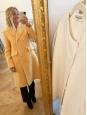 Manteau Martha long en tweed de laine jaune pastel Prix boutique 700€ Taille 36/38