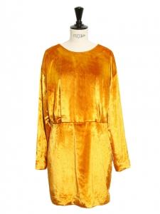 Robe manches longues cintrée en velours jaune or Taille 38