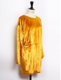 Long sleeves cinched gold yellow velvet dress Size 38