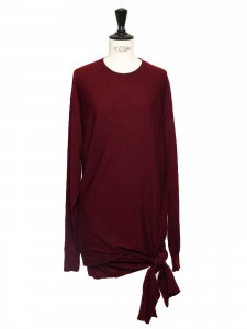 Burgundy red wool knit mid-length wrap dress Retail price €1100 SIze S