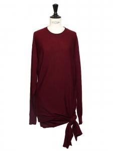 Robe mi-longue drapée en laine rouge bordeaux col rond noeud côté Prix boutique 1100€ Taille S