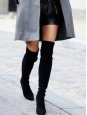 HIGHLAND black suede over the knee heel boots Retail price $880 Size 37