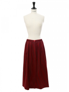 Black and red striped cotton high waist skirt Size XS
