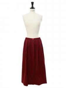 Jupe longue taille haute rayée rouge et noir à petits boutons rouges Taille 34