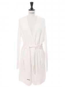 Veste gilet long ceinturé en laine côtelée blanc crème Prix boutique 380€ Taille 34