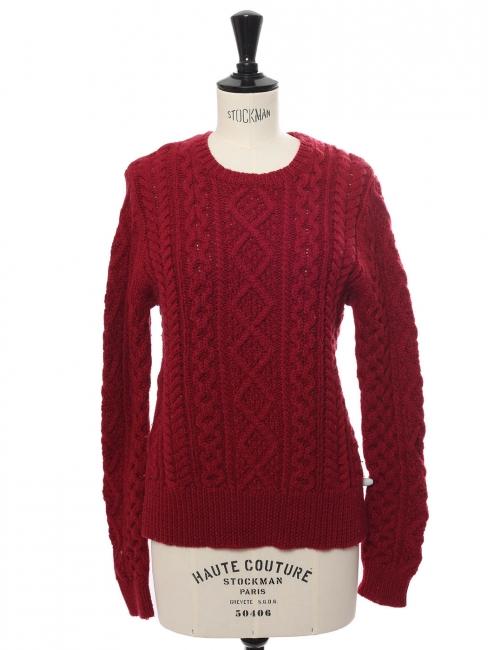 Pull Nilsen col rond en laine torsadée rouge bordeaux Prix boutique 220€ Taille 38