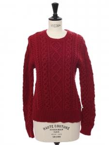 NILSEN round neckline burgundy red twisted wool sweater Retail price €220 Size 38
