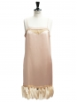 Beige pink silk satin cocktail dress with ruffles from SS 2007 runway Size 38/40