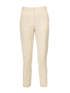 Cream ecru wool and silk gold zip elastic ankle jogging pants Retail price €1150 Size 34