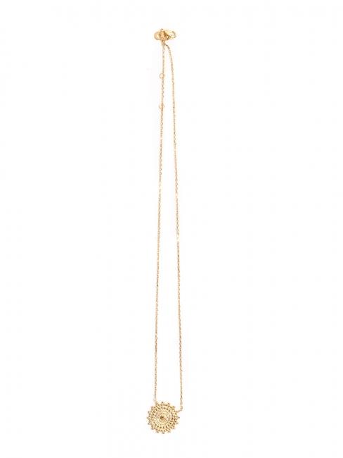 Collier sautoir avec pendentif médaille plaqué or