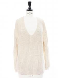 V neckline alpaga blend knit sweater Retail price €290 Size S