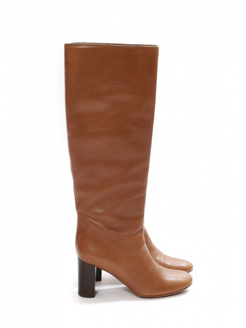 Cognac brown leather wooden low heel knee high boots Retail price €1000 Size 36