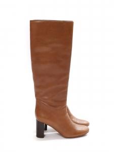 Bottes hautes à talon bois en cuir marron cognac Prix boutique 1000€ Taille 36